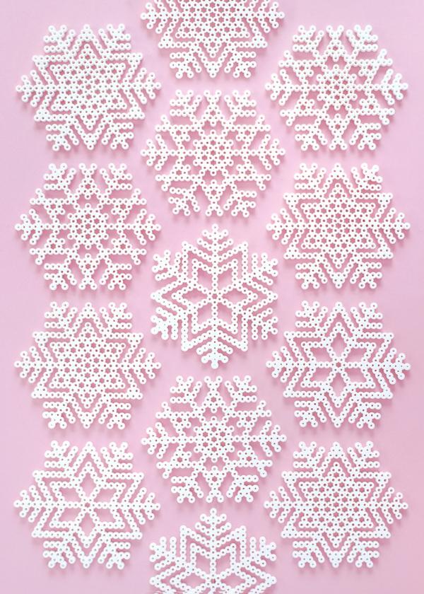 bricolage perles à repasser flocons de neige