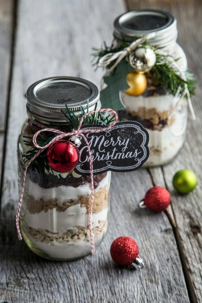 cadeau gourmand noël idée ingrédients dans mason jar