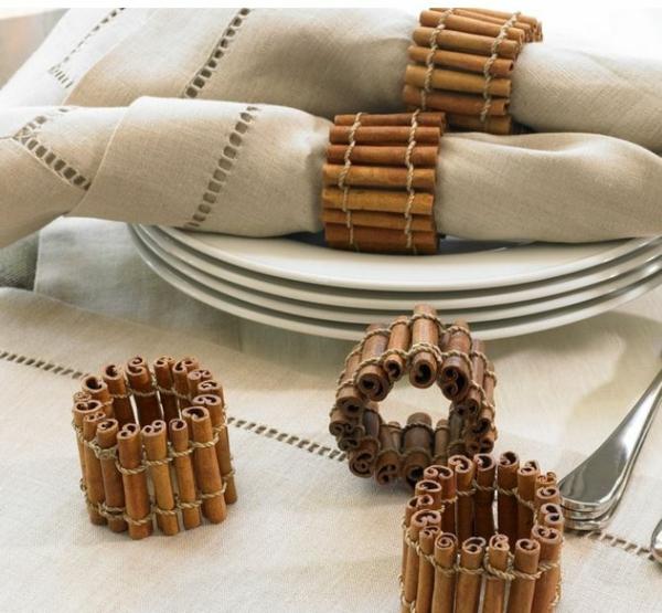 déco table noël à fabriquer anneau de serviette en bâtonnets de cannelle