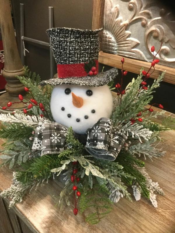 déco table noël à fabriquer bonhomme de neige et verdure