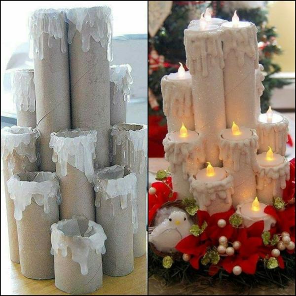 déco table noël à fabriquer bougies en rouleaux de carton