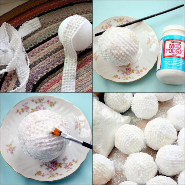 déco table noël à fabriquer boules de neige en tissu