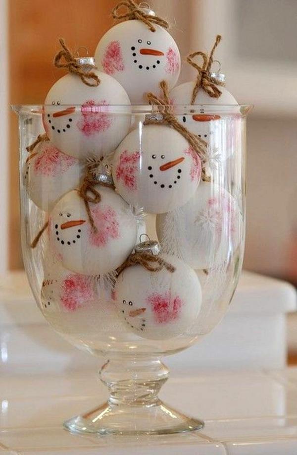 déco table noël à fabriquer boules de sapin blanches bonhommes de neige