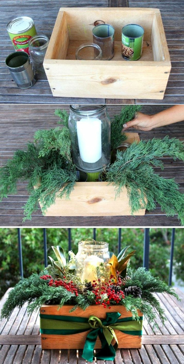 déco table noël à fabriquer centre de table boîte en bois bocal en verre bougie verdure