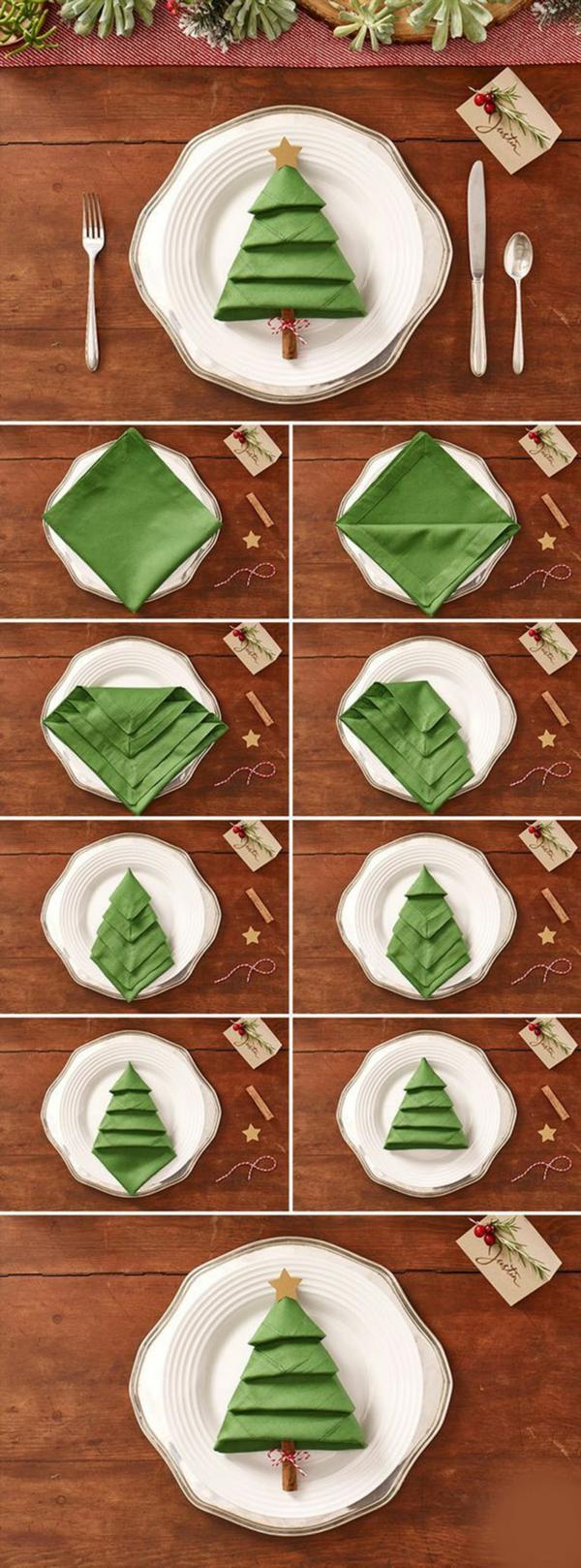 déco table noël à fabriquer pliage serviette