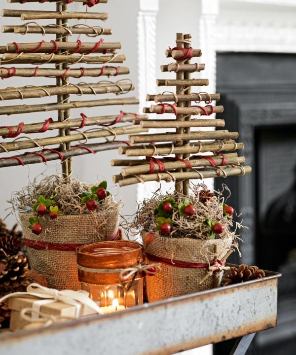 déco table noël à fabriquer sapin décoratif en branchage et fils
