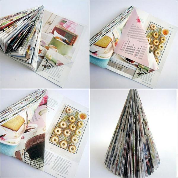 déco table noël à fabriquer sapin en pages de magazine
