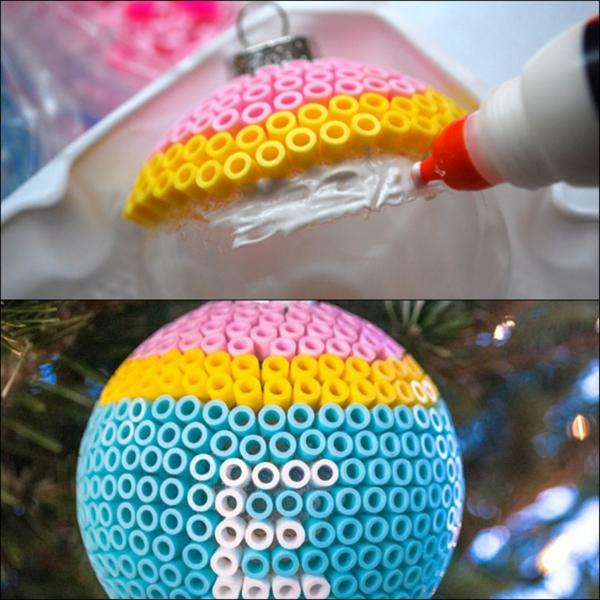 décorer une boule de noël avec des perles à repasser