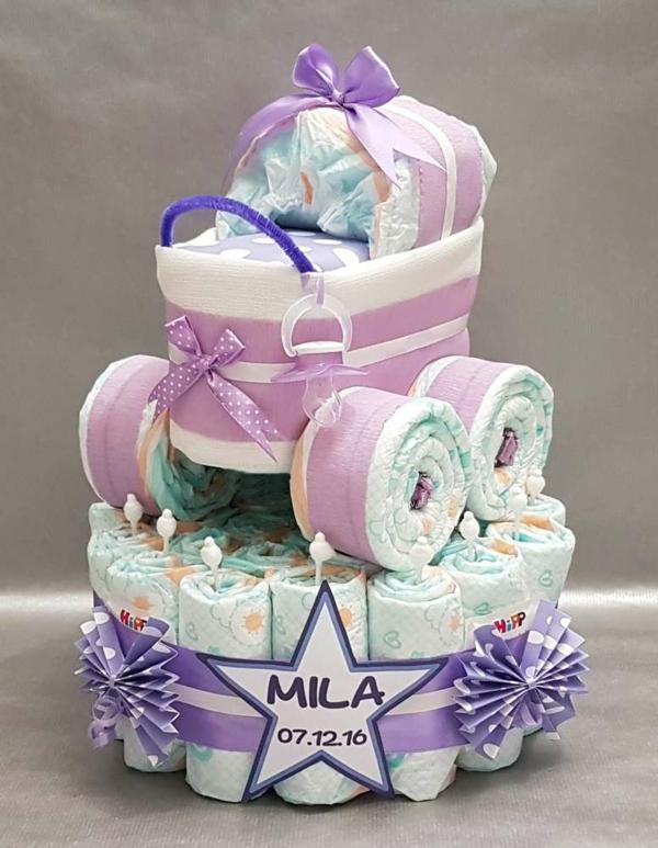 diy cadeau bébé gâteau de couches poussette