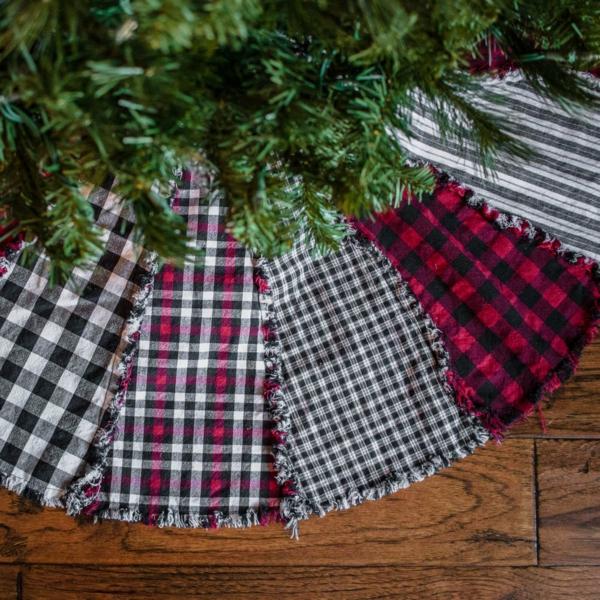 diy jupe de sapin textile à carrés