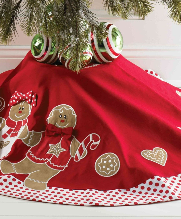 diy jupe de sapin textile motif bonhomme de pain d'épice