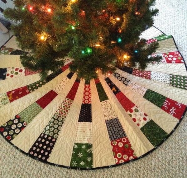 diy jupe de sapin textile patchwork