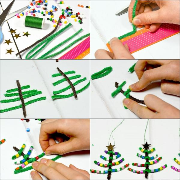 diy mini-sapins en perles à repasser et cure-pipes
