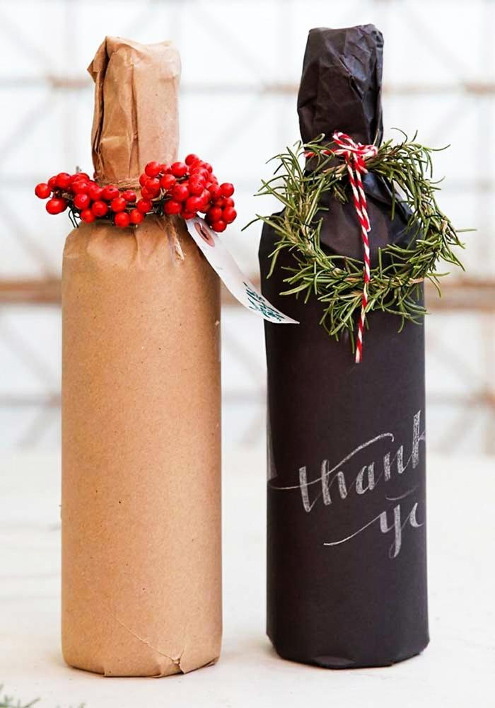emballer un cadeau bouteille noël