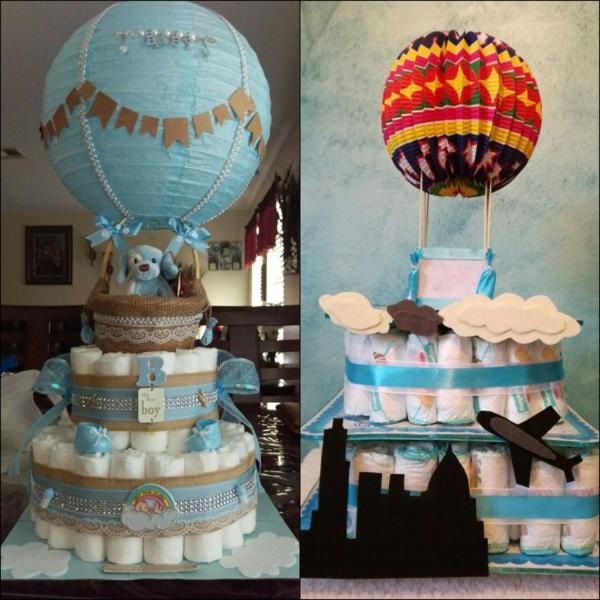 fabriquer gâteau de couches déco ballon volant