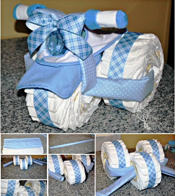 fabriquer un gâteau de couches moto