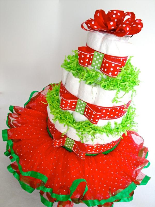 fabriquer un gâteau de couches pour fille dentelle rouge