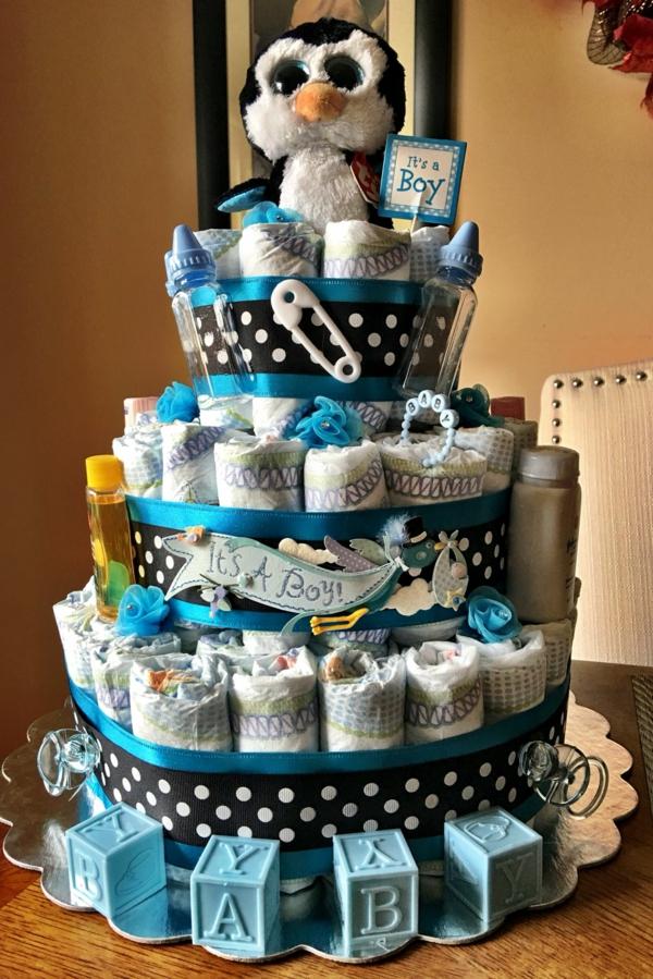 fabriquer un gâteau de couches pour garçon peluche hibou