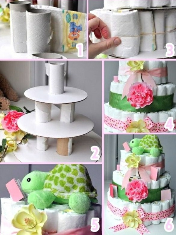 fabriquer un gâteau de couches rouleaux de papier toilettes carton