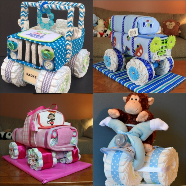 fabriquer un gâteau de couches voiture moto