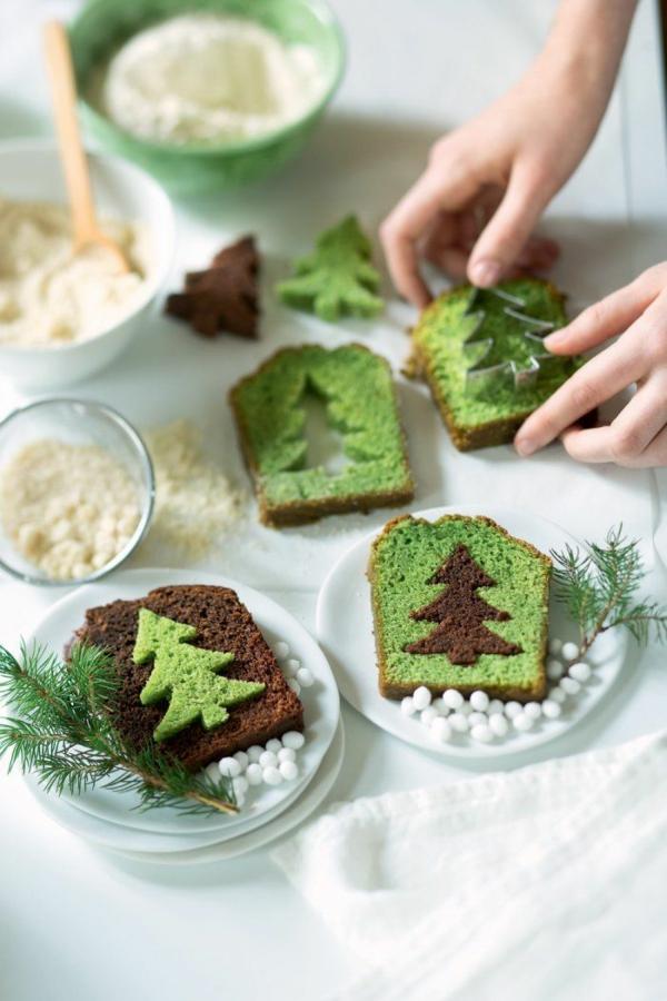 gâteau sapin de noël vert et brun