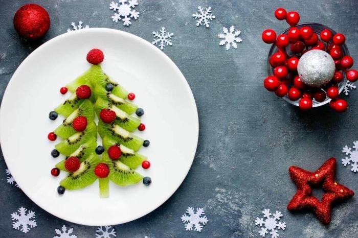 idée avec des kiwis déco assiette de Noël