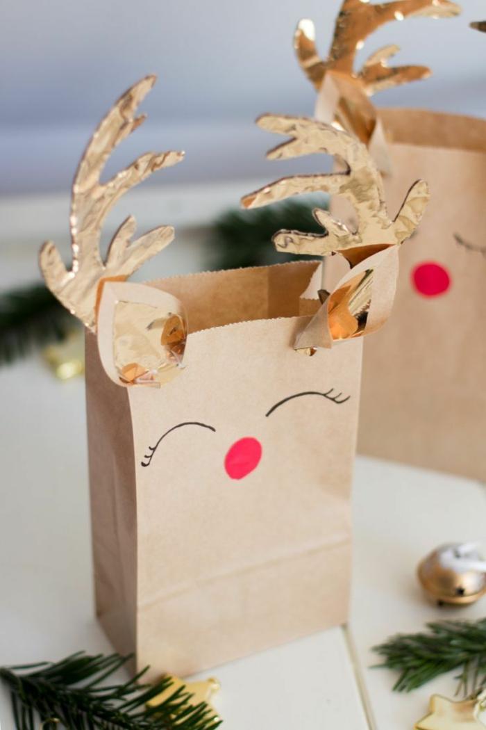 idée facile avec du papier craft emballer un cadeau
