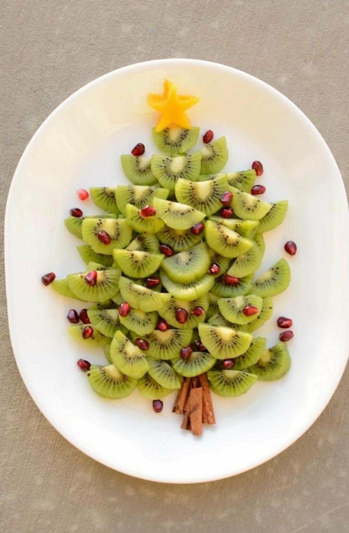 idée originae avec des fruits déco assiette de Noël