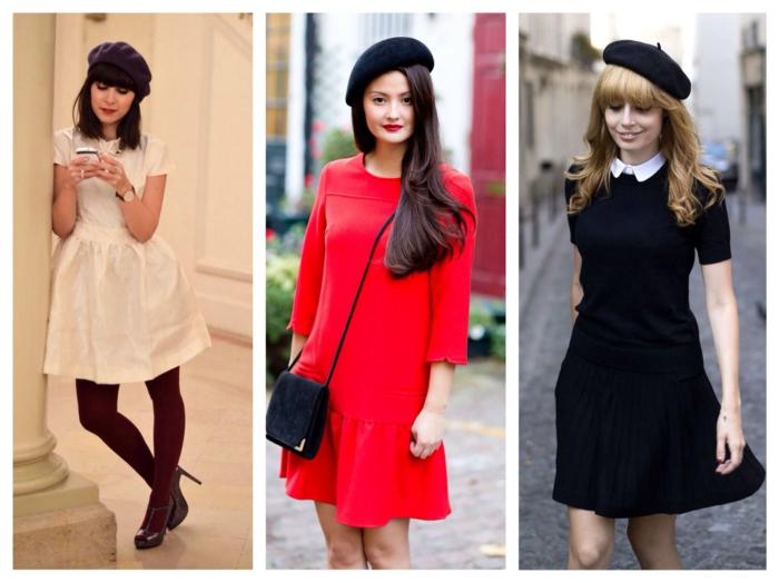 jupe et béret chapeau femme hiver idées
