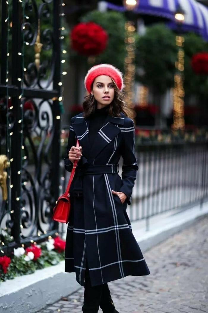 manteau élégant et béret mode femme 2019-2020 chapeau femme hiver