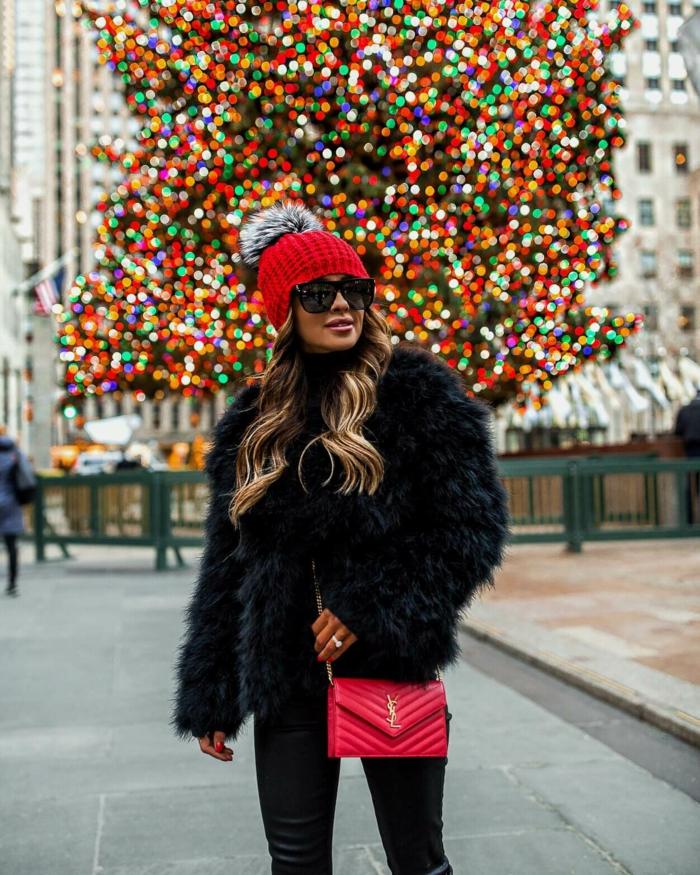 manteau fausse fourrure et chapeau femme hiver