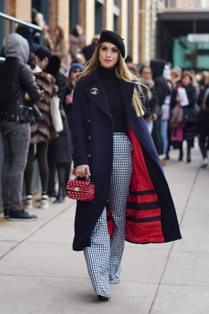 manteau long et béret idée chapeau femme hiver