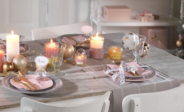 noël en rose assiette de Noël déco