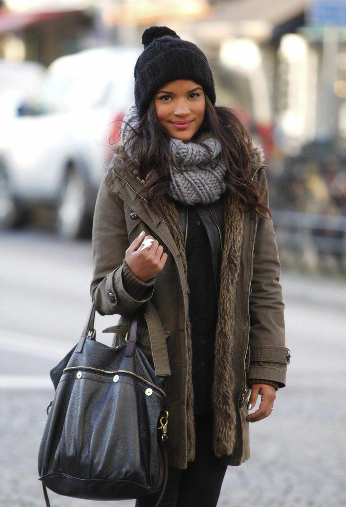 parka coat et chapeau femme hiver bonnet en pompon