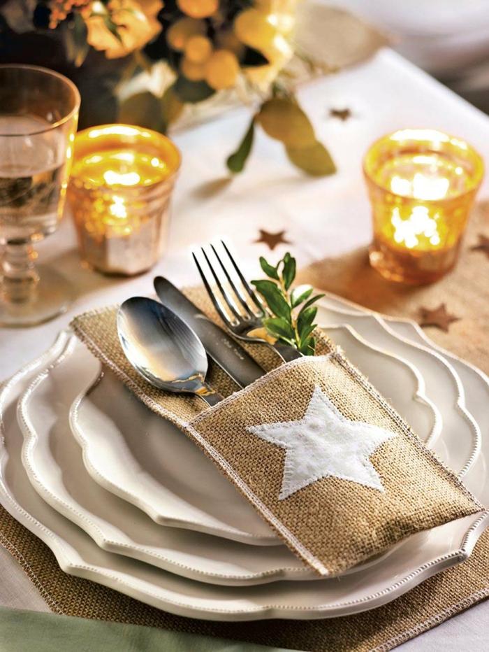 pochette à couverts assiette de Noël déco