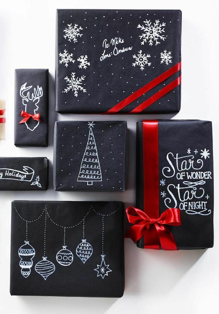 réalisation facile emballer un cadeau pour noël avec du papier ardoise