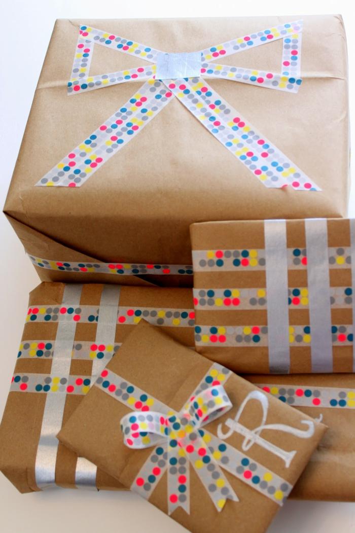 washi tape idée emballer un cadeau pour noël