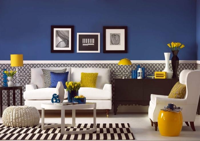 bleu et jaune idée classic blue couleur pantone 2020 intérieur