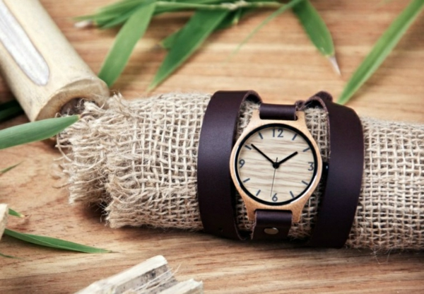cadeau zéro déchet montre en bois et cuir