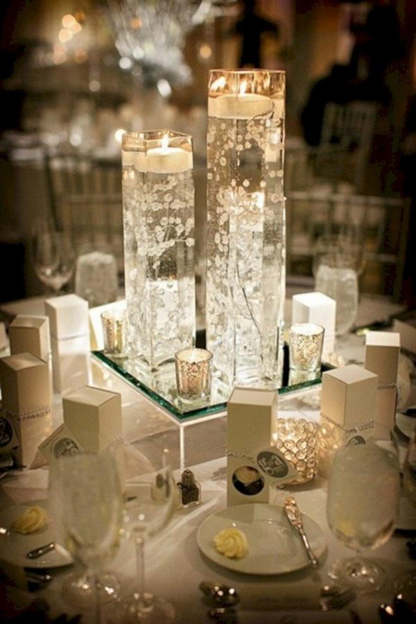 déco mariage hiver bougeoir en cristal