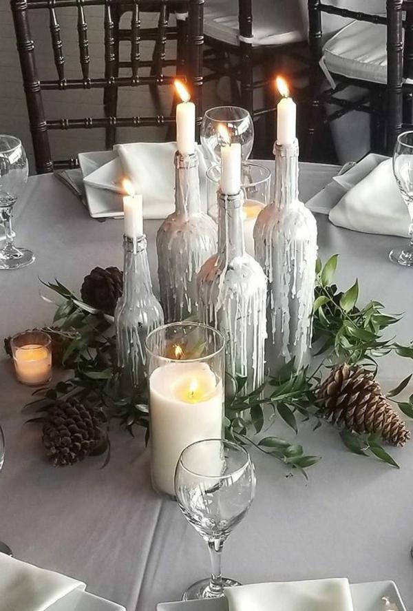 déco mariage hiver bougeoirs bouteilles de vin