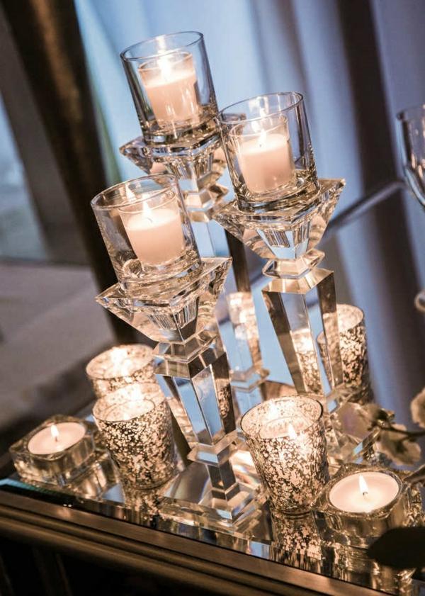 déco mariage hiver bougeoirs en cristal