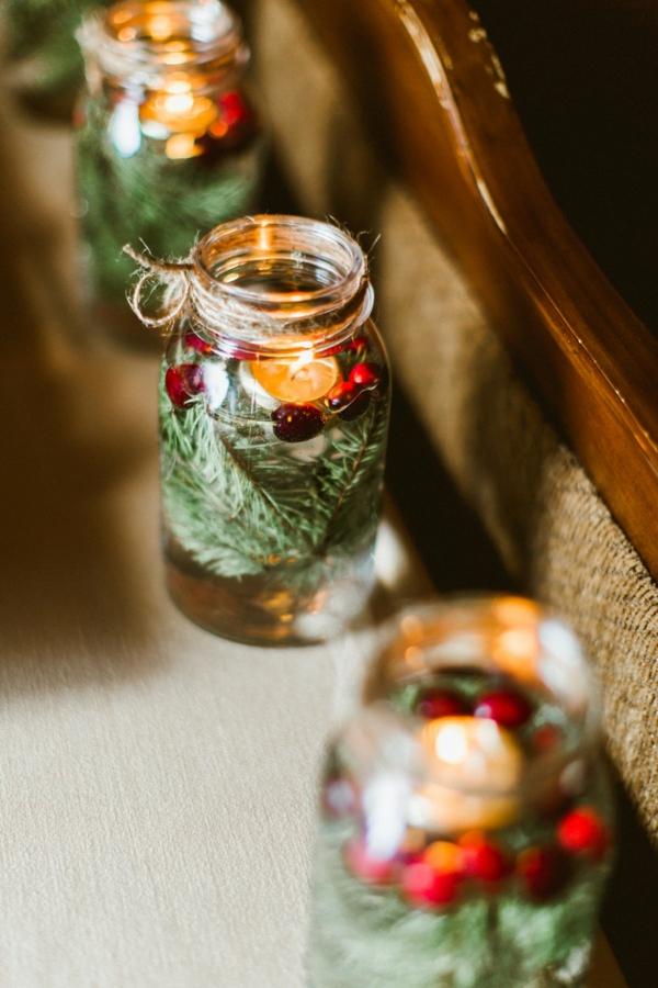 déco mariage hiver bougies aromatiques en bocaux