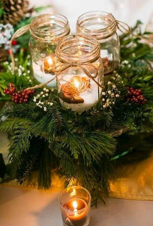 déco mariage hiver bougies en bocaux de verre centre de table