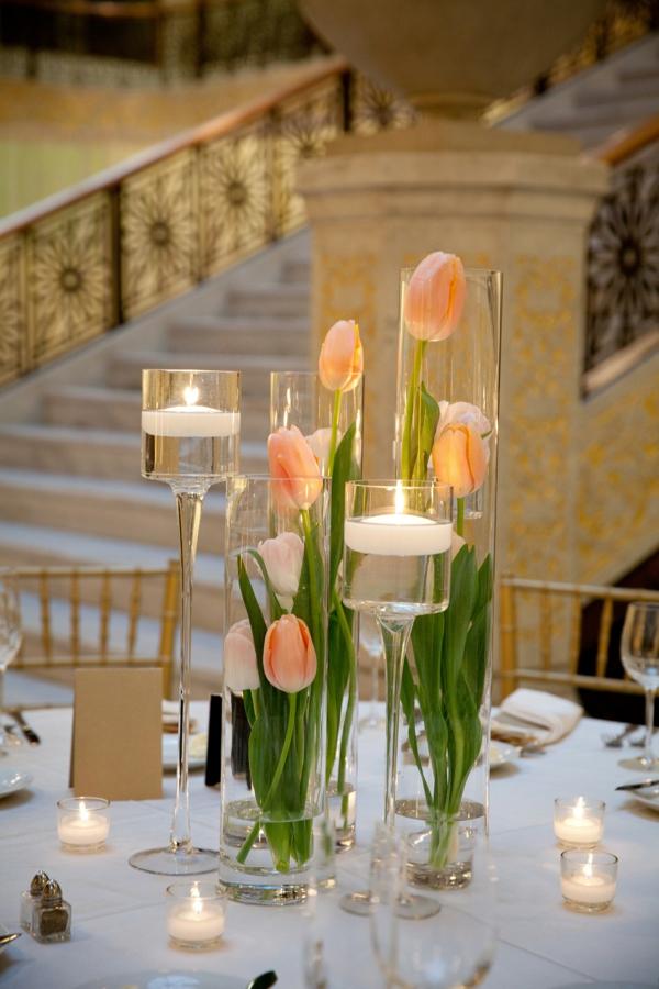 déco mariage hiver bougies et tulipes