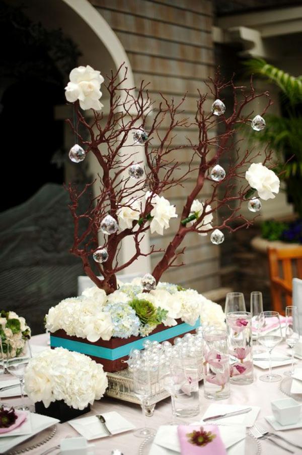 déco mariage hiver centre de table mini-arbre avec des cristaux