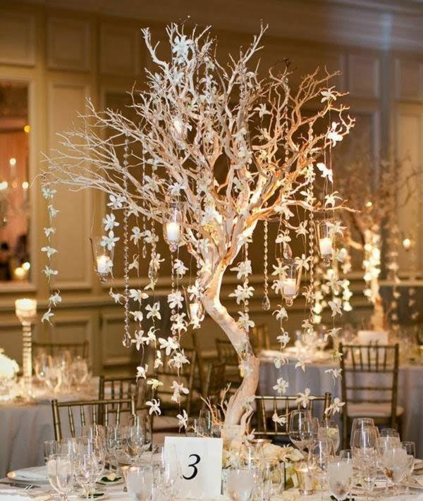 déco mariage hiver centre de table arbre décoratif lumineux
