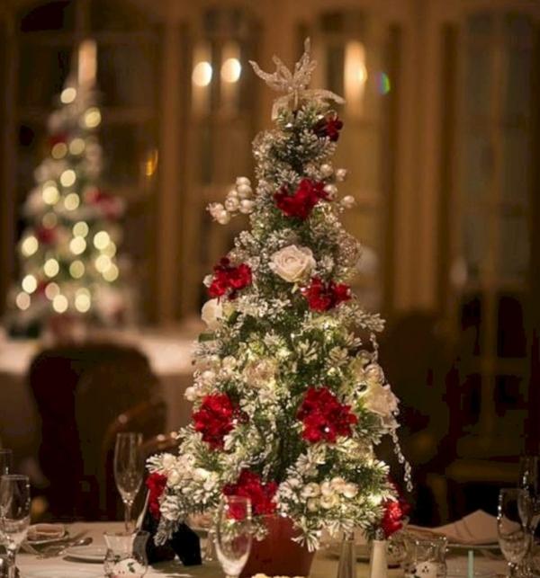 déco mariage hiver centre de table mini-sapin