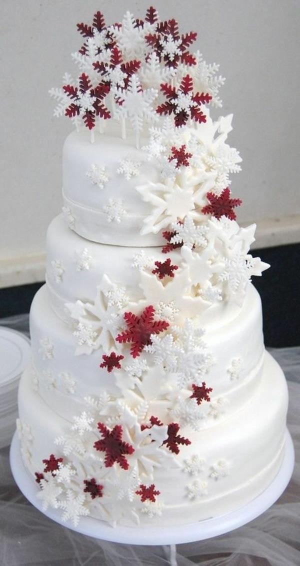 déco mariage hiver décoration de gâteau de mariage flocons de neige en chocolat
