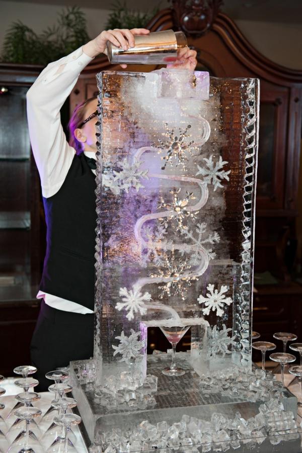 déco mariage hiver distributeur de boisson glace